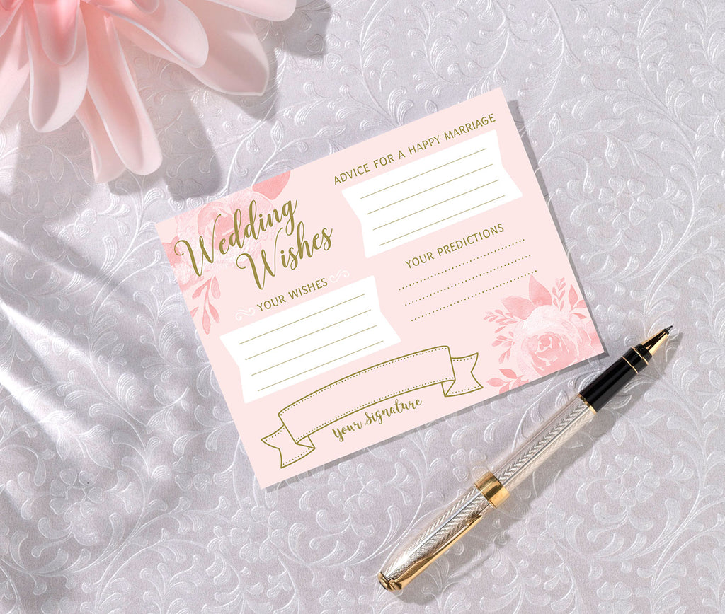 Bridal Shower Wishes Cards - Set of 24
