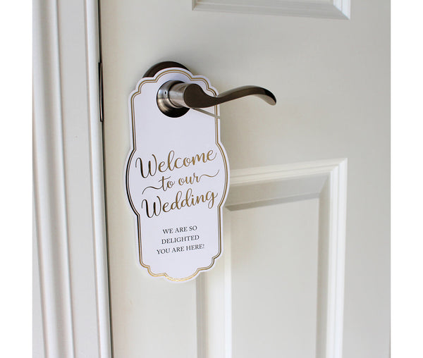 Gold Wedding Door Hangers for Guests and More