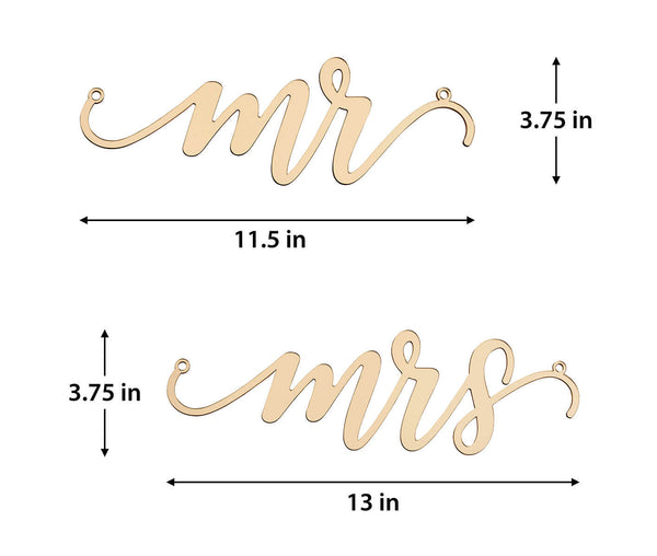 Gold Laser Cut Mr and Mrs Chair Signs