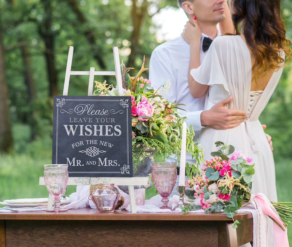 Leave Your Wishes Wedding Sign