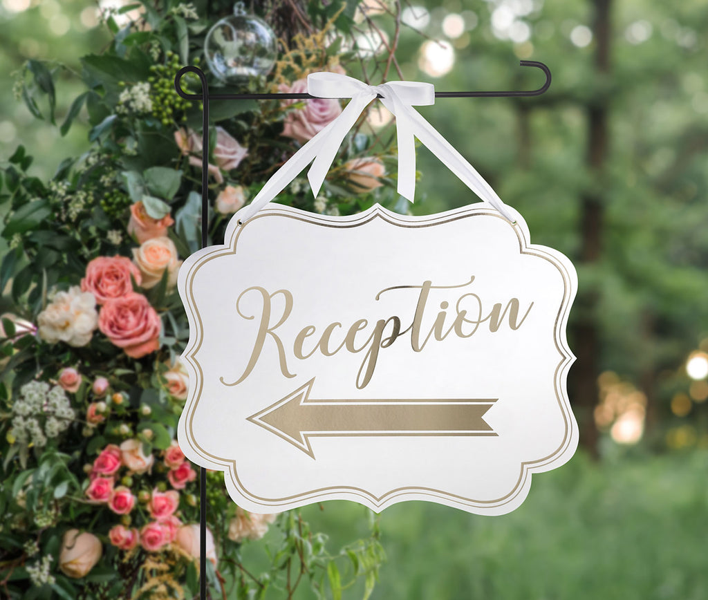 White & Gold Arrow Reception Sign