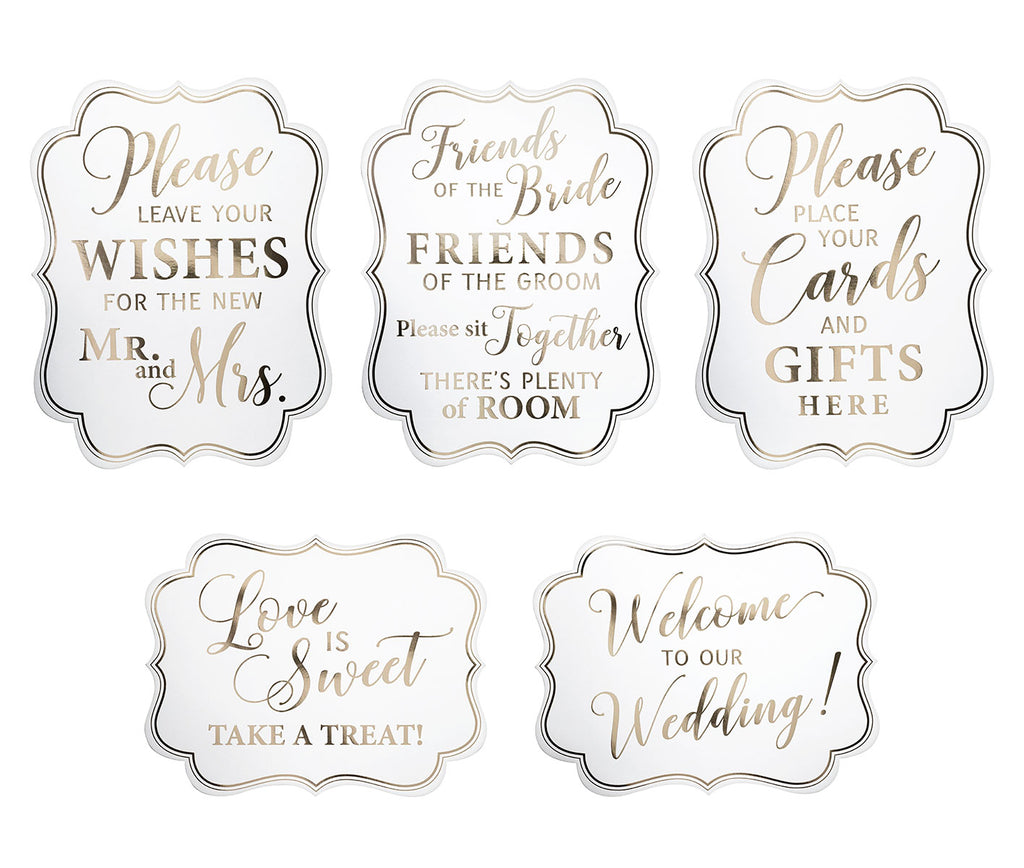 Set of 5 White & Gold Wedding Signs