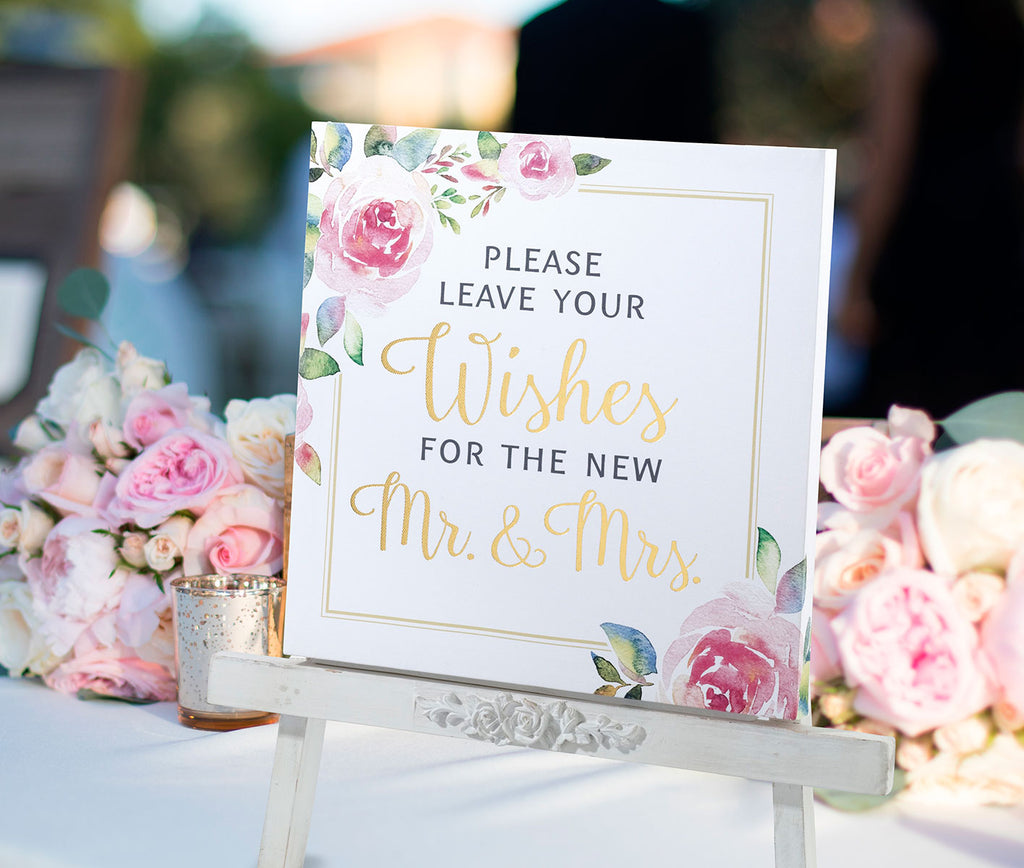 Watercolor Wedding Wishes Canvas Sign