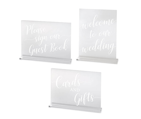 Set of 3 Clear Acrylic Wedding Signs