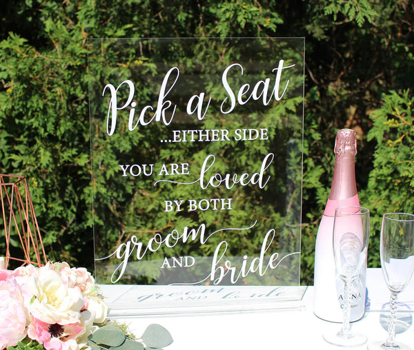 Clear Acrylic Wedding Seating Sign