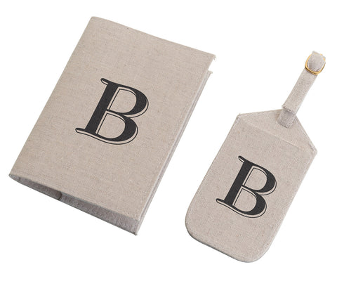 Tan Monogram Luggage Tag & Passport Cover Set