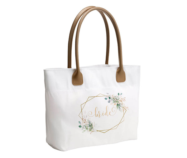 Botanical Watercolor and Gold Geometric Bridal Party Wedding Tote Bag