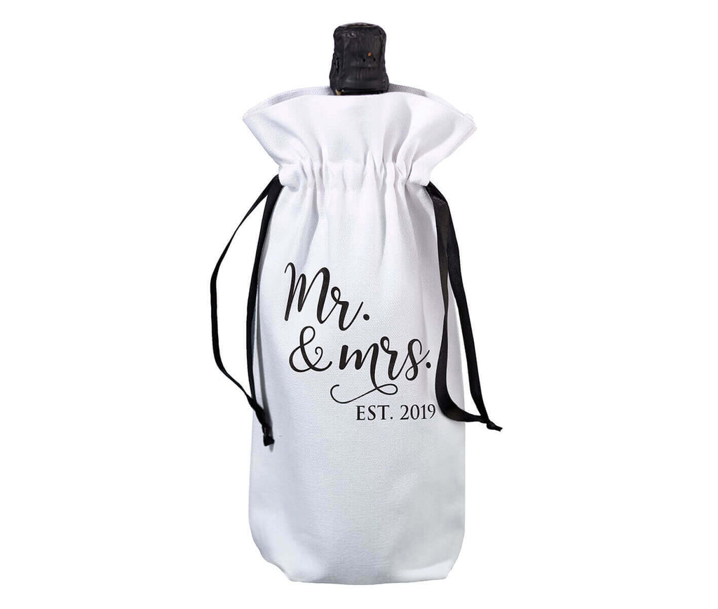 Mr. & Mrs. Est. 2019 White and Black Wine Bag