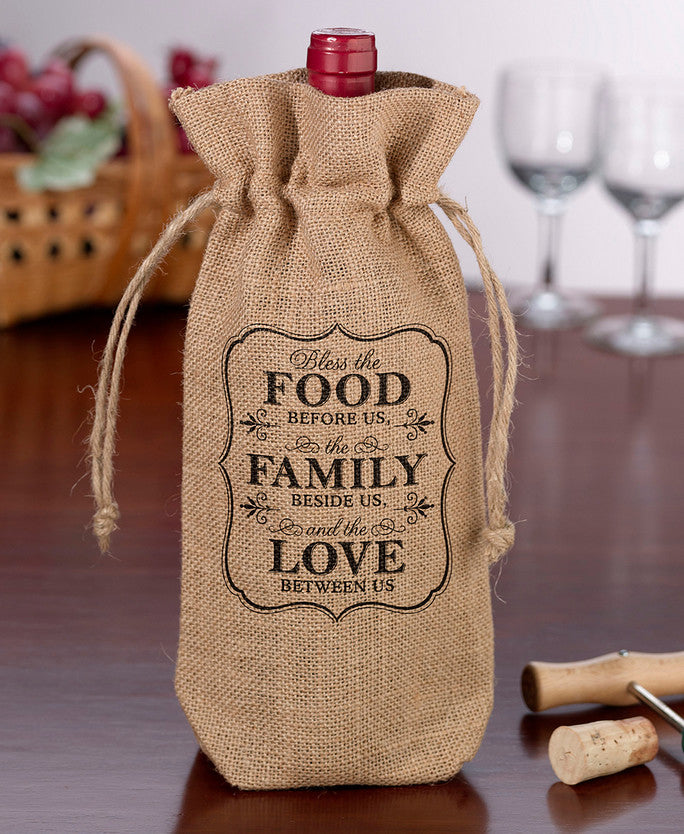 Food & Family Burlap Wine Bag
