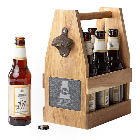 Wedding Acacia Slate Beer Carrier with Bottle Opener and Magnetic Cap Catcher