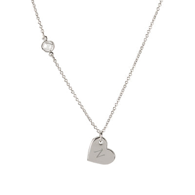 Heart Necklace with Bezel Crystal