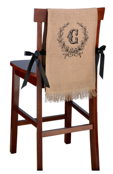 Personalized Set of 2 Burlap Chair Covers - Leaf Monogram