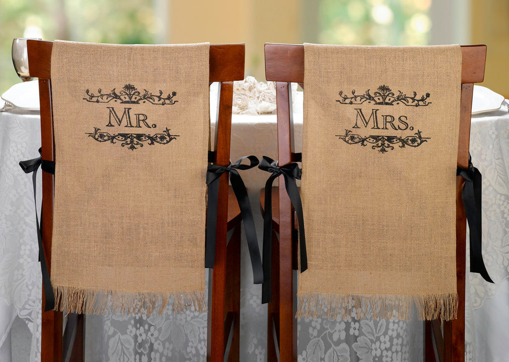 Mr. & Mrs. Burlap Chair Covers