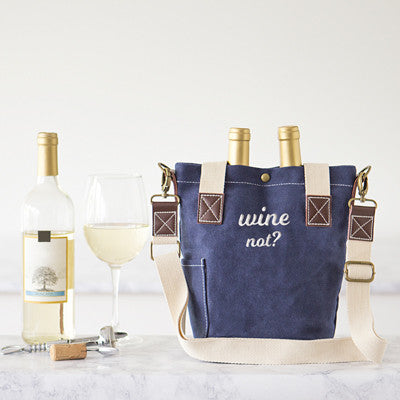 Wine Not Navy Waxed Canvas Wine Tote