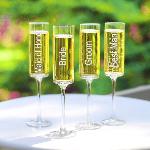 Wedding Party Toasting Flutes (4pc)