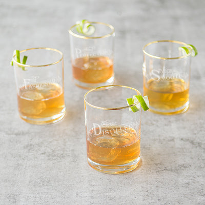 Old Fashioned Gold Rim Whiskey Glasses