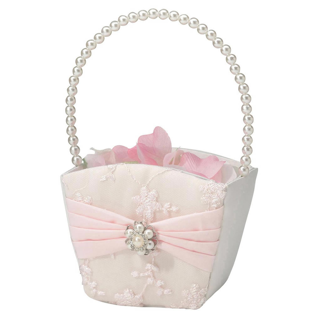 blush pink flower girl basket