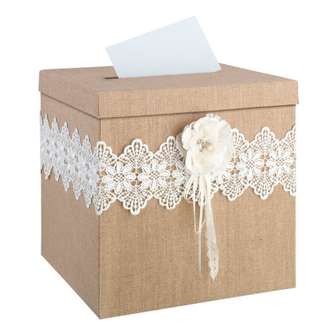 burlap wedding gift card box