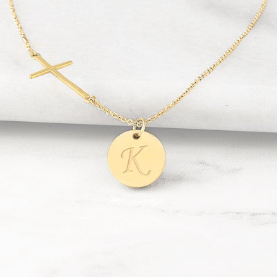 Cross Necklace with Personalized Charm
