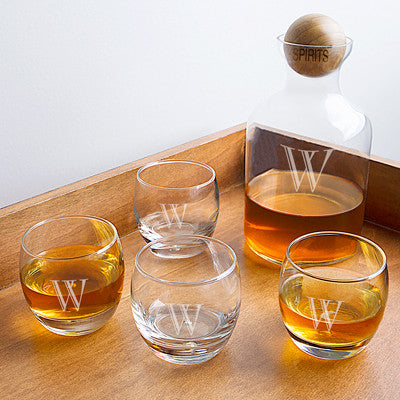 Glass Decanter with Wood Stopper Set
