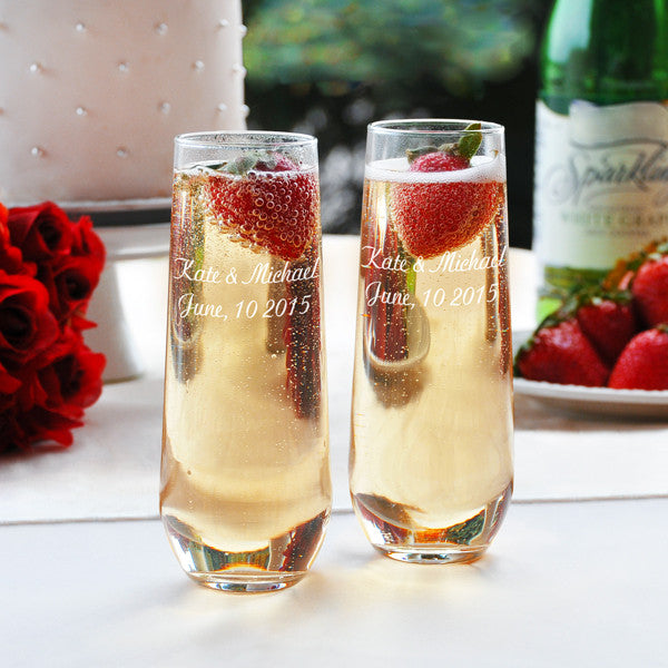 Stemless Wedding Toasting Flutes