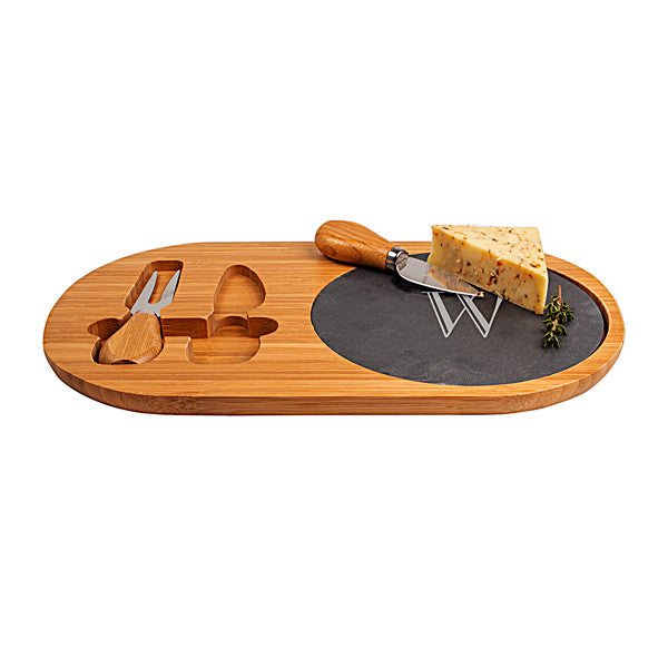 Bamboo & Slate Cheese Board Set with Utensils