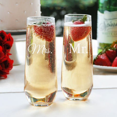 Mr. & Mrs. Stemless Wedding Toasting Flutes