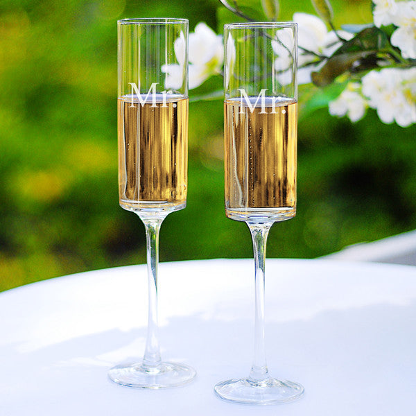 Mr. & Mr. Contemporary Wedding Toasting Flutes