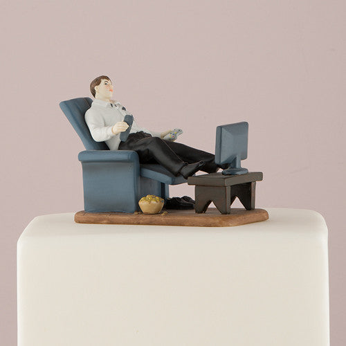 Mix & Match Couch Potato Groom Wedding Cake Top