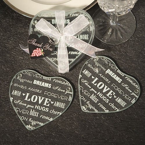 Heart Design Glass Coaster Favor