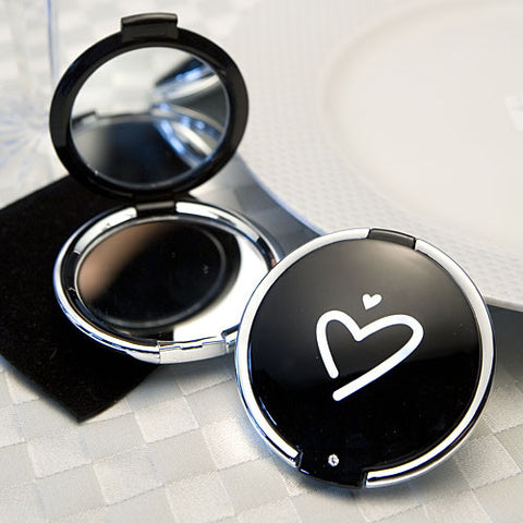 Styling Black Heart Design Compact Mirror Favor