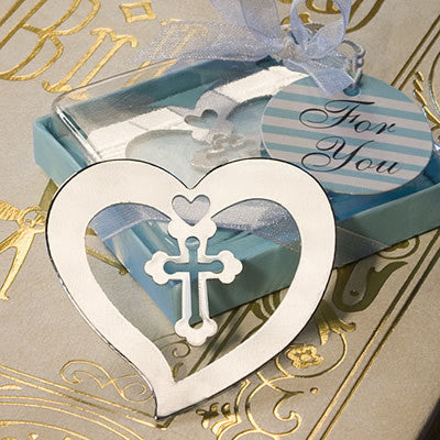 Heart-Shaped Book Mark with Cross Wedding Favor