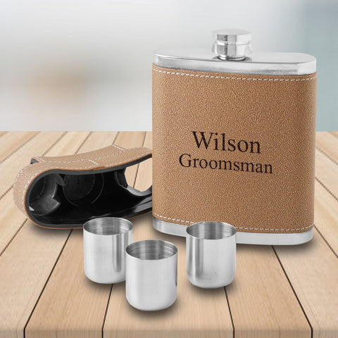 7oz. Leather Personalized Flask - 3 Steel Shot Glasses