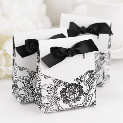 Floral White Favor Boxes - Pack of 25