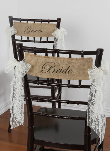 Bride and Groom Burlap Chair Decorations with Lace Sashes