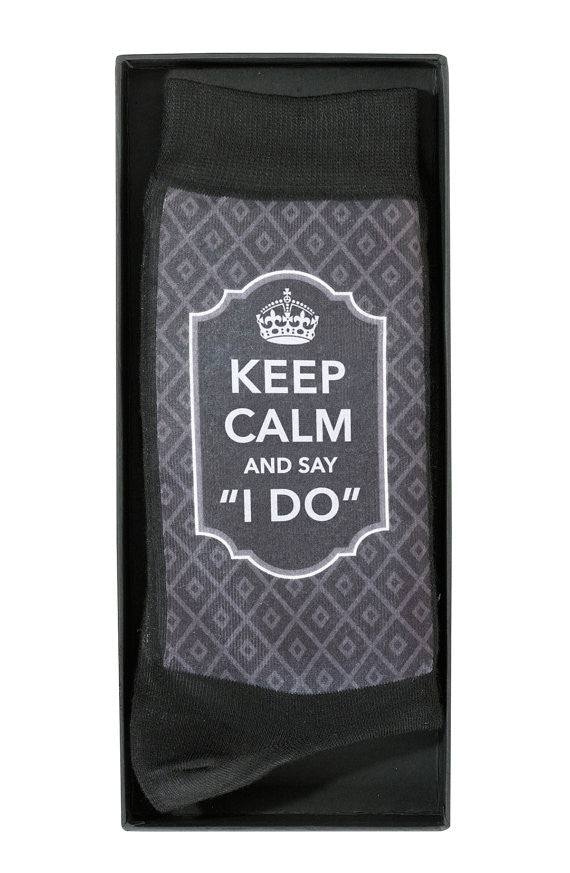 Keep Calm And Say I Do Wedding Socks