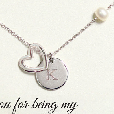 Bridesmaid Open Heart Charm Necklace