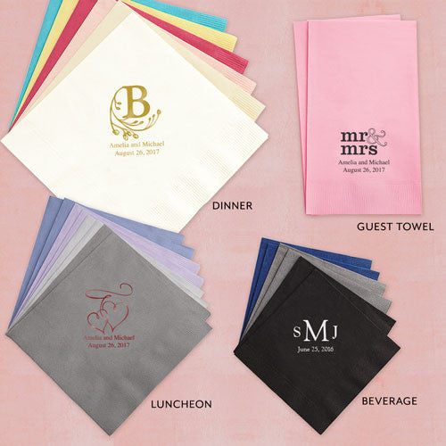 Eat, Drink & Be Married Printed Napkins - Block Style