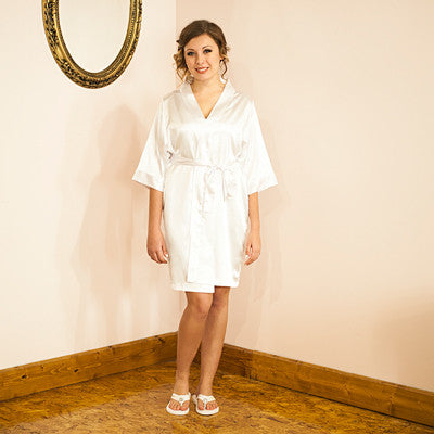 Bride White Satin Robe with Flip Flops