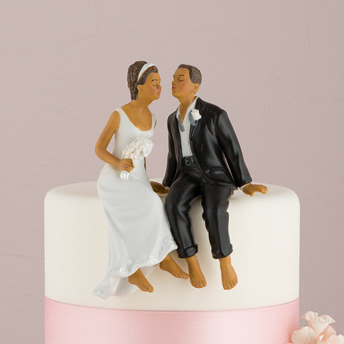 Whimsical Sitting Bride & Groom Wedding Cake Topper