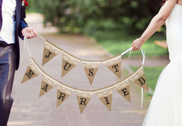 Just Married Burlap Banner
