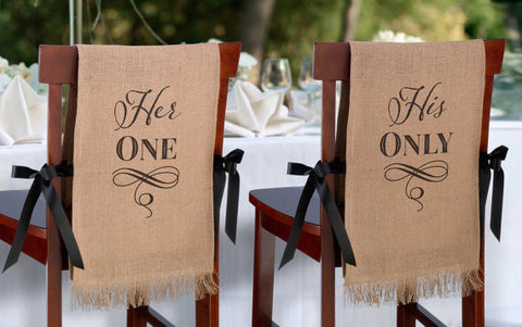 Her One, His Only Burlap Chair Cover Set