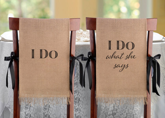 Groovy I Do Chair Burlap Chair Cover Set Pabps2019 Chair Design Images Pabps2019Com