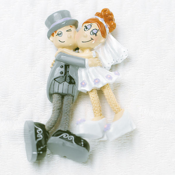 Dangly Leg Comical Bride & Groom Magnet Favor