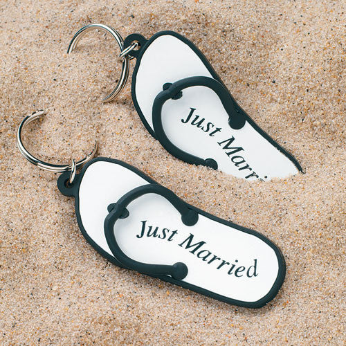 "Mini Flip Flop ""Just Married"" Key Chain Favors"