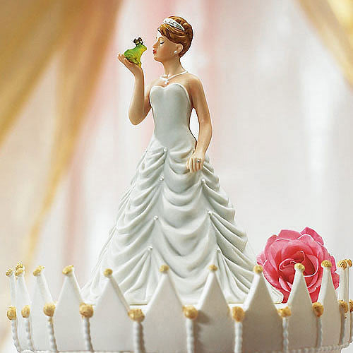 Princess Bride Kissing Frog Groom Wedding Cake Top