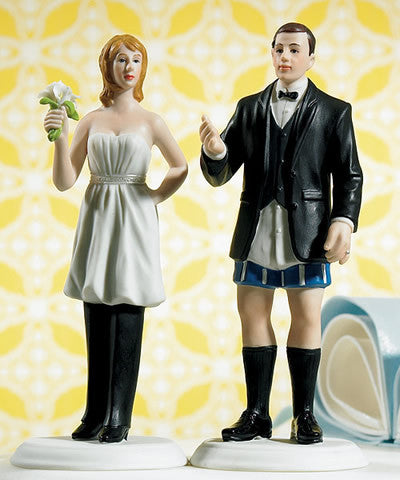 In Charge Bride (wears the pants) and Groom Figurines Cake Top