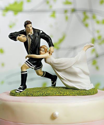 Rugby Couple Figurine Cake Top