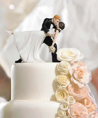 Romantic Dip Bride & Groom Wedding Cake Top
