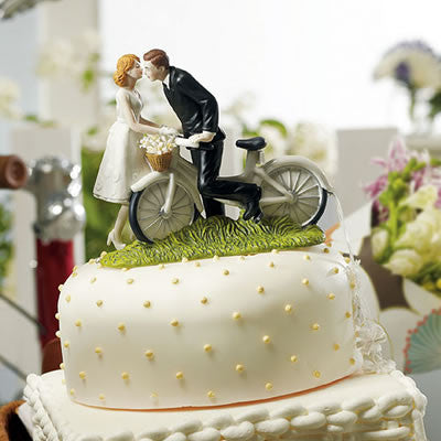 A Kiss Above -  Bicycle Wedding Cake Top